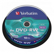Verbatim DVD-RW 4x 4,7GB cake 10 ks - VE435850